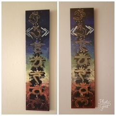 "Hand Painted Twin Chakra Planks. 5.5"" x 24"". $55.00"